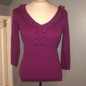 3/4 sleeve August Silk purple sweater